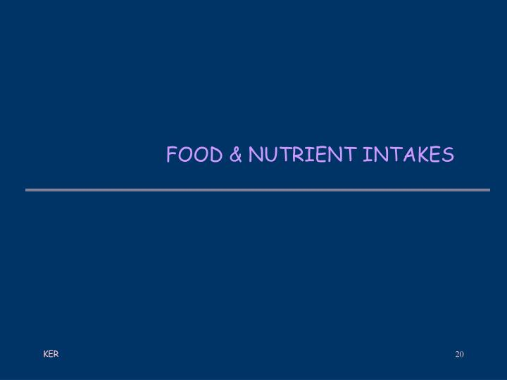 FOOD & NUTRIENT INTAKES