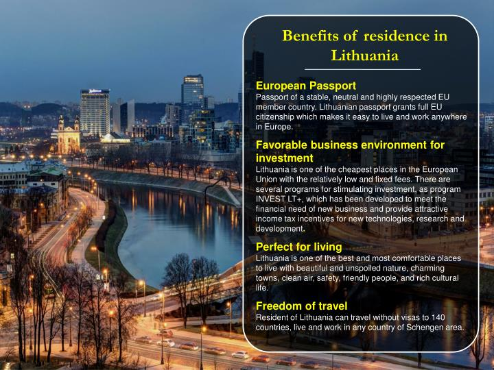 Benefits of residence in Lithuania