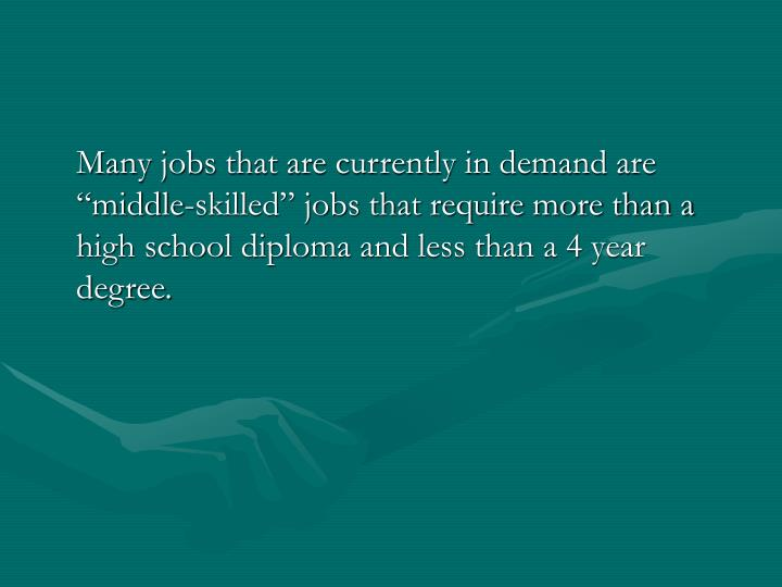 "Many jobs that are currently in demand are ""middle-skilled"" jobs that require more than a high school diploma and less than a 4 year degree."