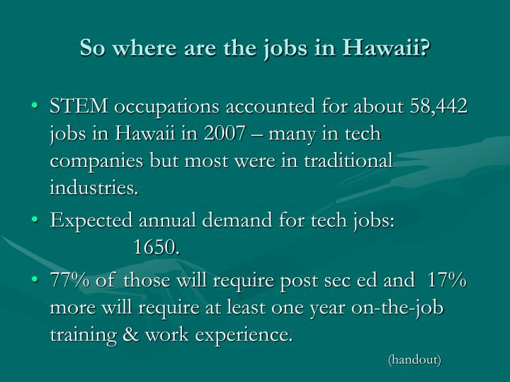 So where are the jobs in Hawaii?