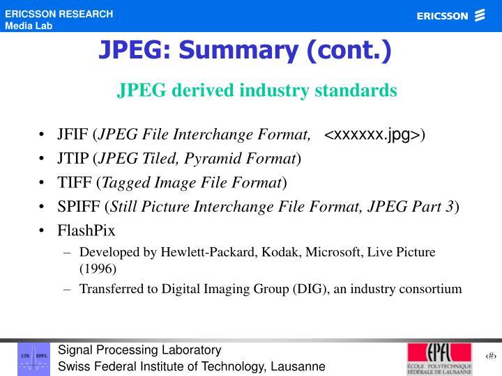 JPEG: Summary (cont.)
