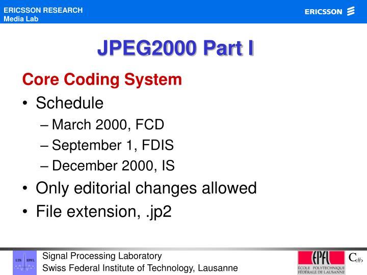 JPEG2000 Part I