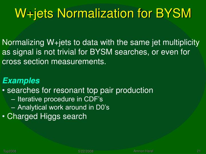 W+jets Normalization for BYSM