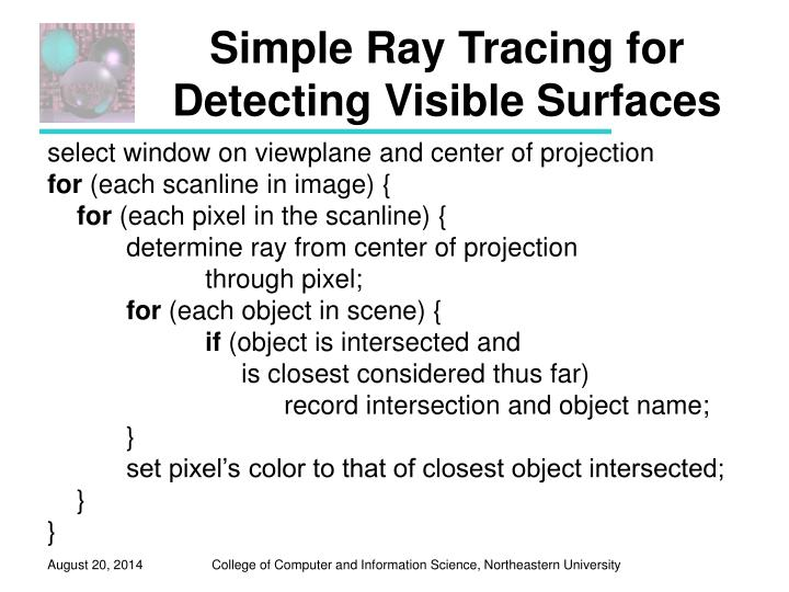 Simple Ray Tracing for Detecting Visible Surfaces