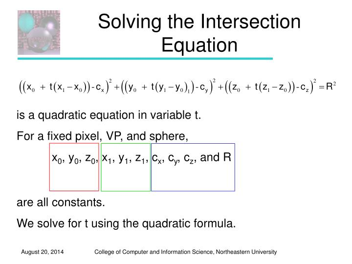 Solving the Intersection Equation
