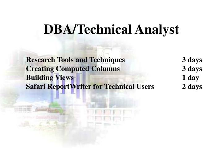 DBA/Technical Analyst