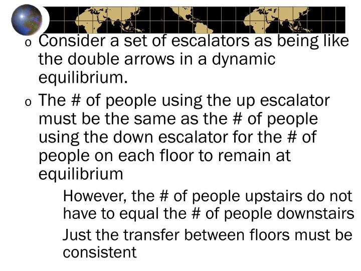 Consider a set of escalators as being like the double arrows in a dynamic equilibrium.