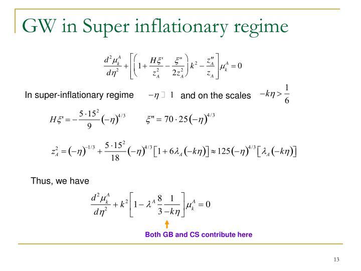GW in Super inflationary regime