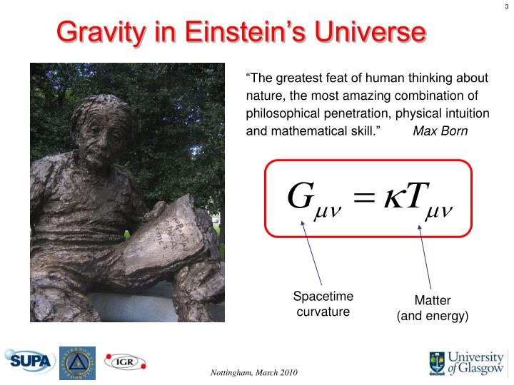 Gravity in Einstein's Universe