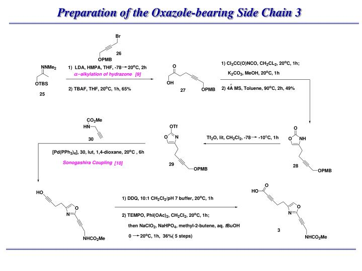 Preparation of the Oxazole-bearing Side Chain 3