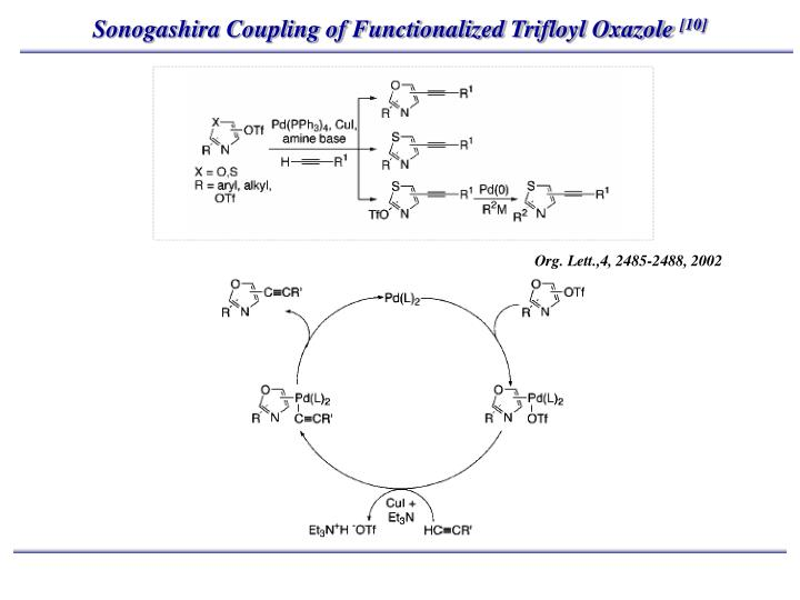 Sonogashira Coupling of Functionalized Trifloyl Oxazole