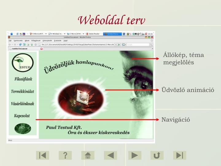 Weboldal terv