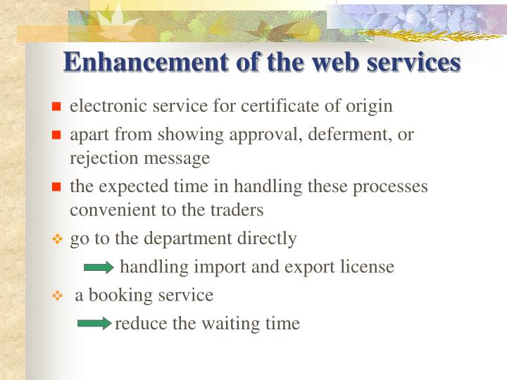 Enhancement of the web services