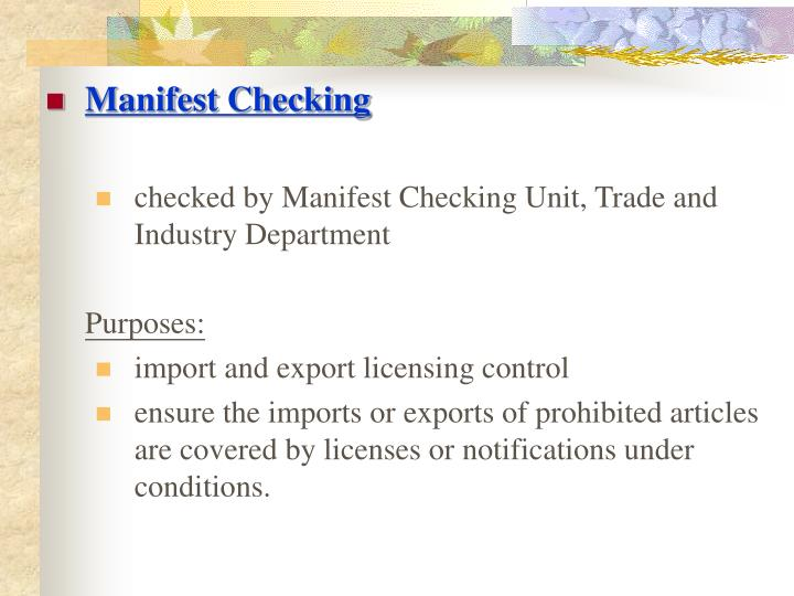 Manifest Checking