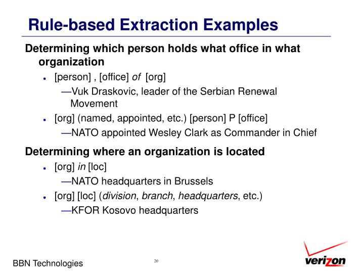 Rule-based Extraction Examples