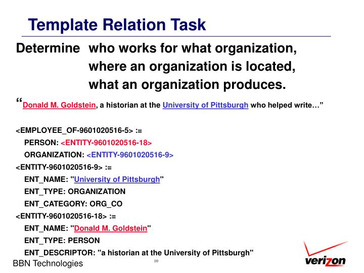 Template Relation Task