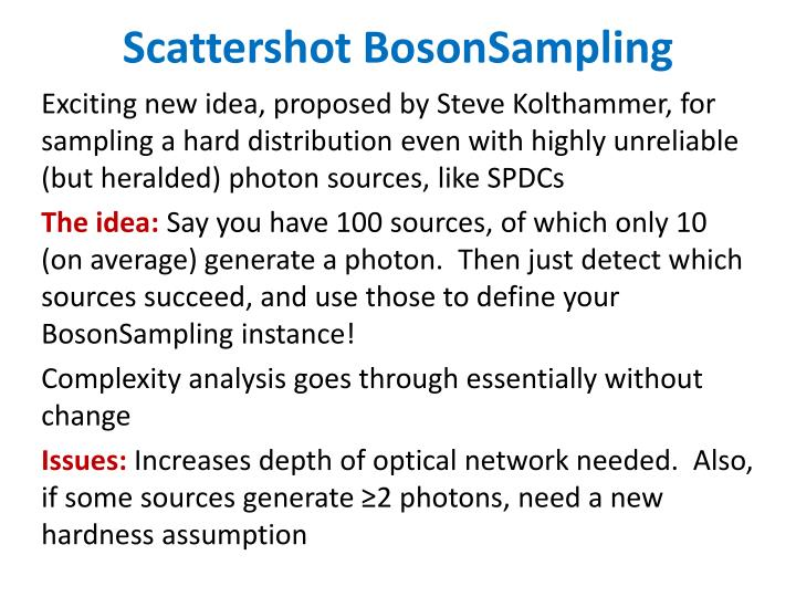 Scattershot BosonSampling