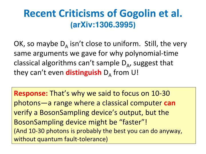 Recent Criticisms of Gogolin et al.