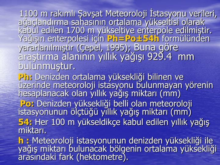 1100 m rakımlı Şavşat Meteoroloji İstasyonu verileri, ağaçlandırma sahasının ortalama yükseltisi olarak kabul edilen 1700 m yükseltiye enterpole edilmiştir. Yağışın enterpolesi için