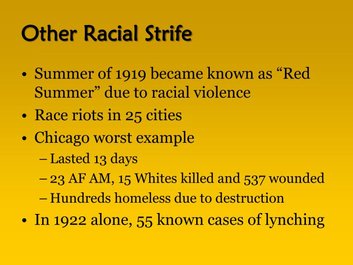 Other Racial Strife