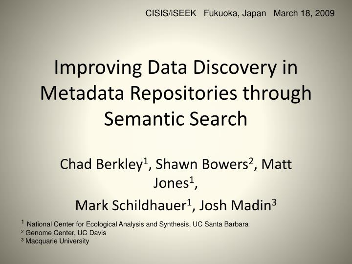 improving data discovery in metadata repositories through semantic search