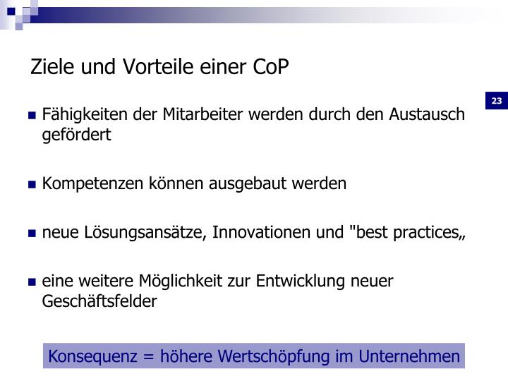 Ziele und Vorteile einer CoP