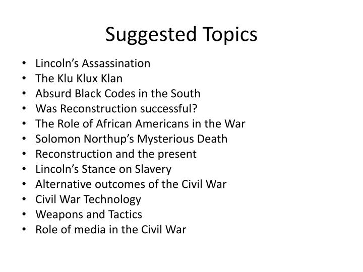 Suggested topics