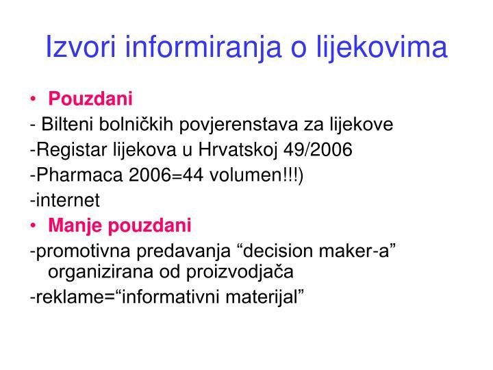 Izvori informiranja o lijekovima