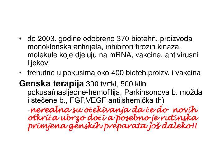 do 2003. godine odobreno 370 biotehn. proizvoda monoklonska antirijela, inhibitori tirozin kinaza, molekule koje djeluju na mRNA, vakcine, antivirusni lijekovi