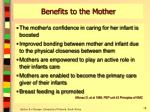 benefits to the mother