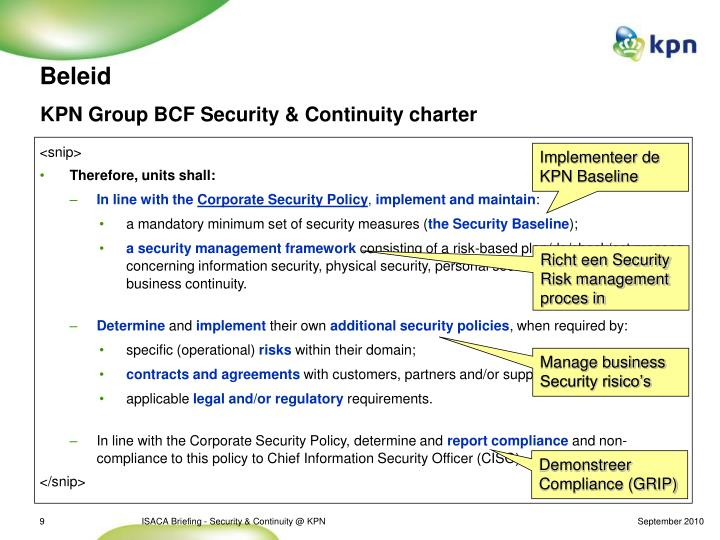 KPN Group BCF Security & Continuity charter