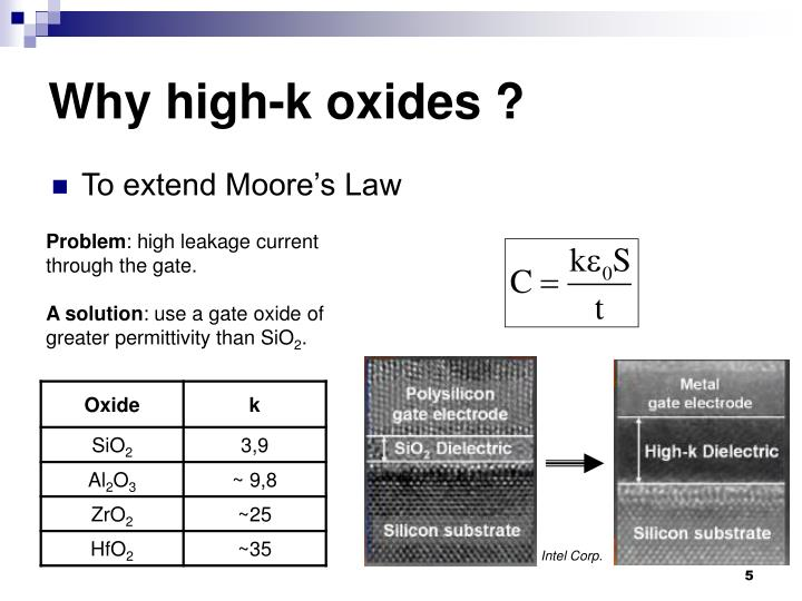 Why high-k oxides ?