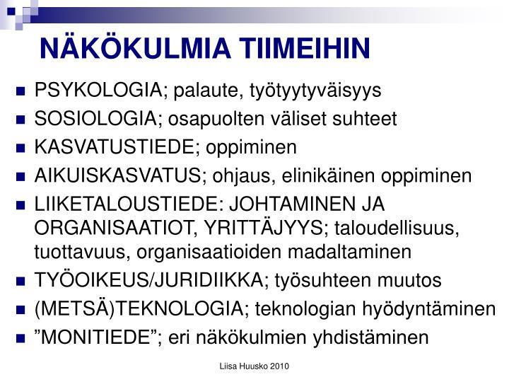 NÄKÖKULMIA TIIMEIHIN