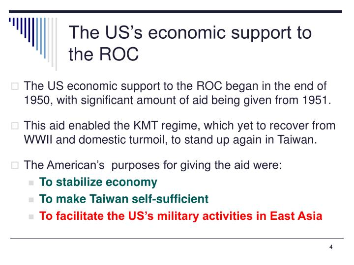 The US's economic support to the ROC