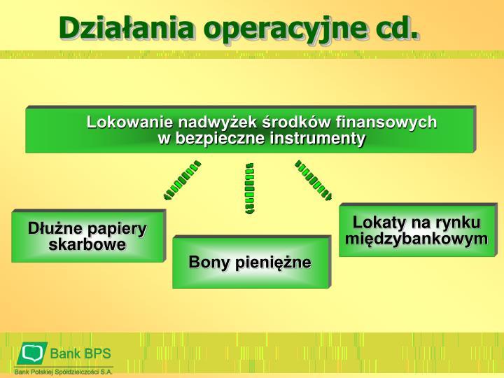 Działania operacyjne cd.