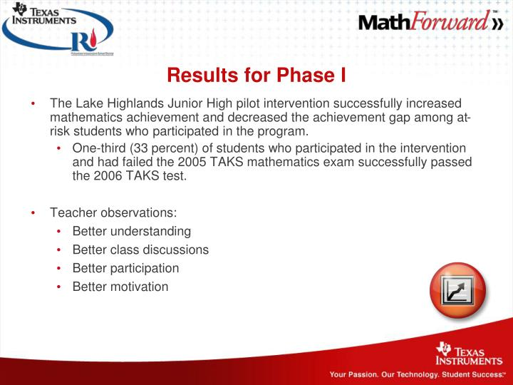 Results for Phase I