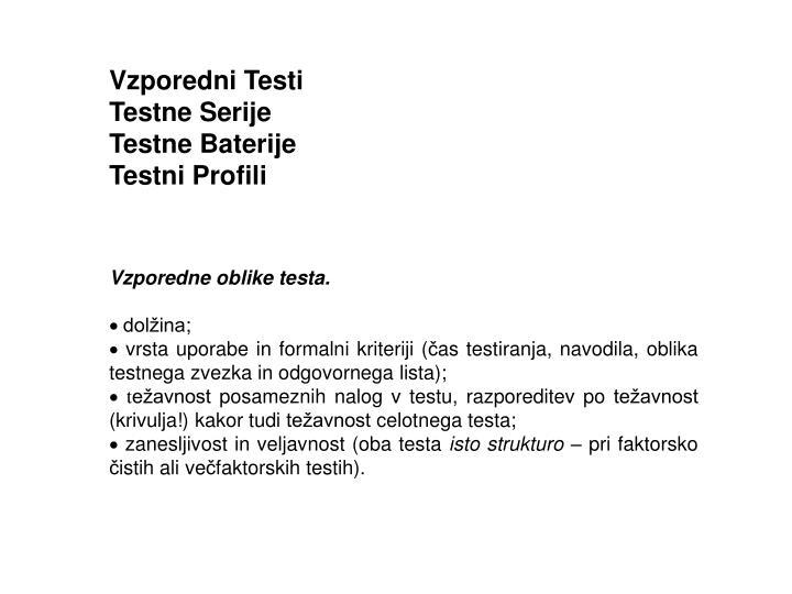 Vzporedni Testi