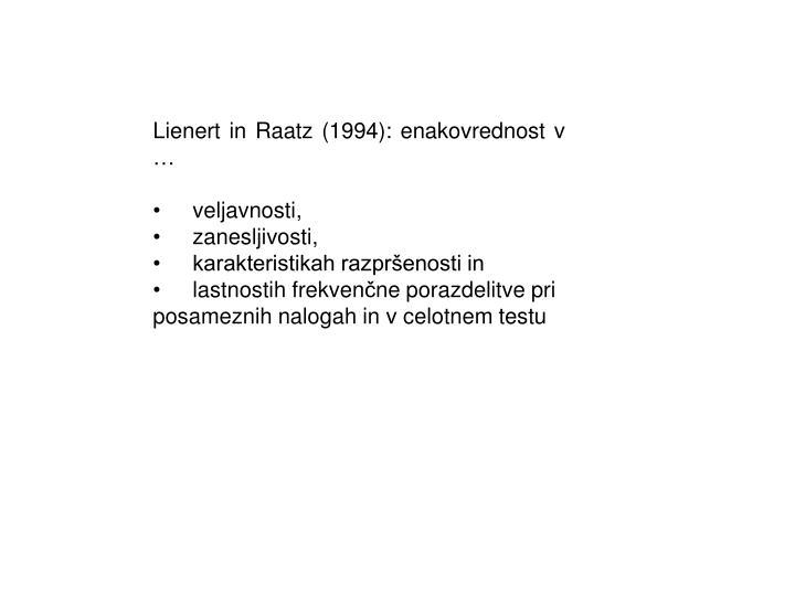 Lienert in Raatz (1994): enakovrednost v