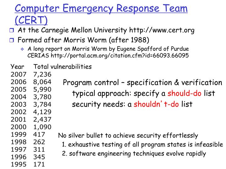 Computer emergency response team cert