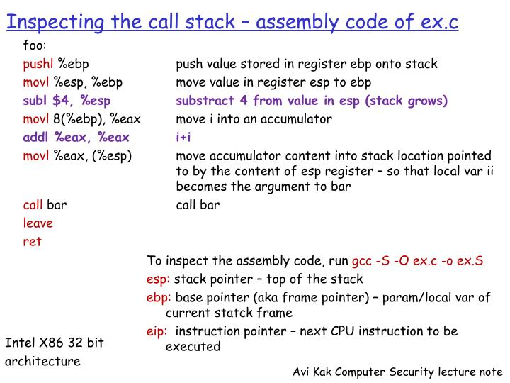 Inspecting the call stack – assembly code of ex.c