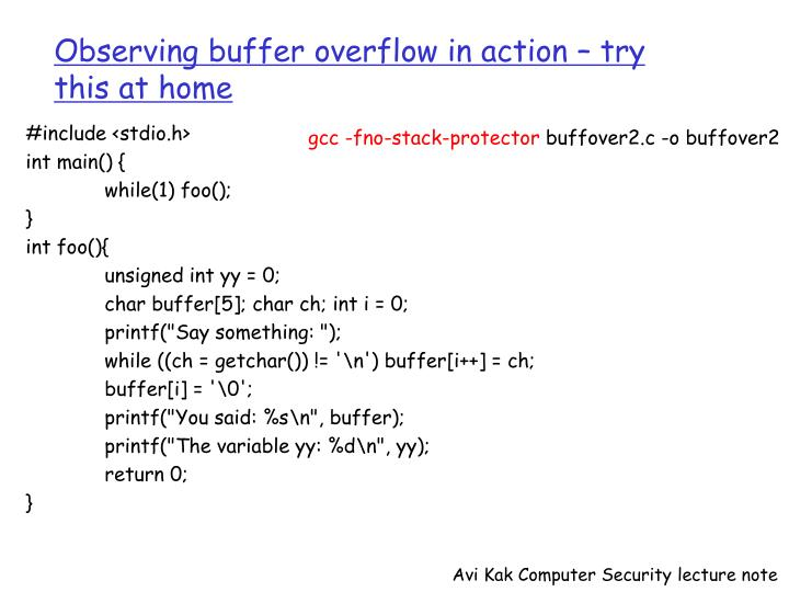 Observing buffer overflow in action – try this at home