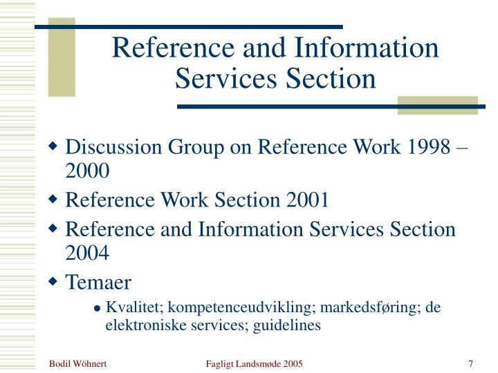 Reference and Information Services Section