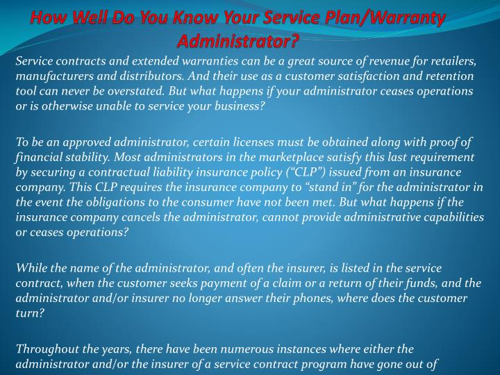 How well do you know your service plan warranty administrator
