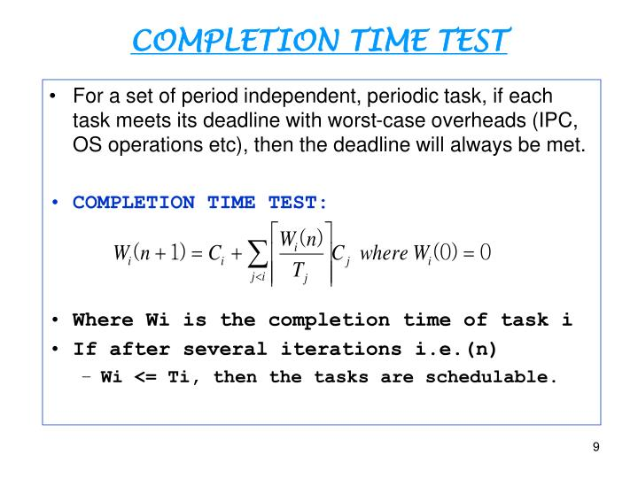 COMPLETION TIME TEST