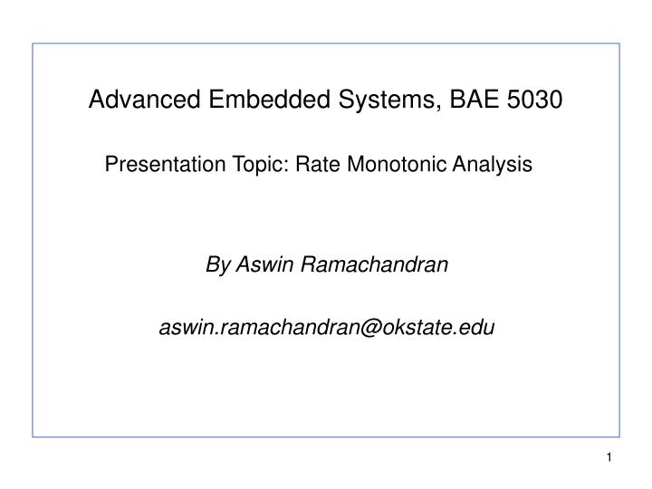 Advanced Embedded Systems, BAE 5030