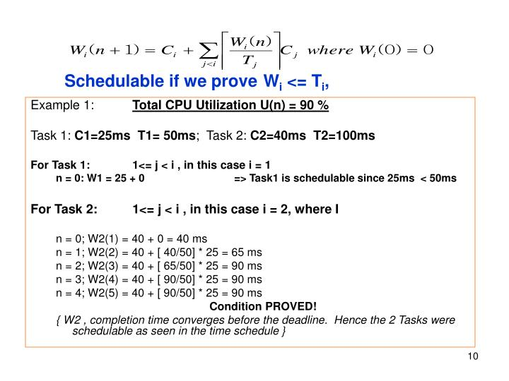Schedulable if we prove