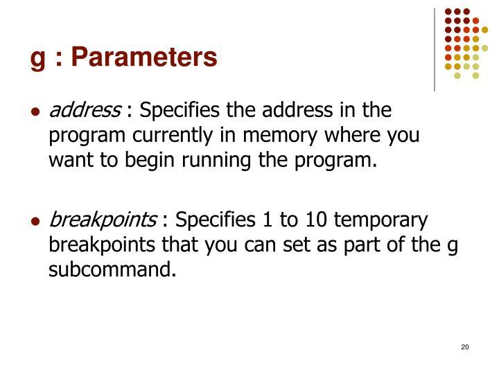 g : Parameters