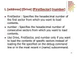 l address drive firstsector number2