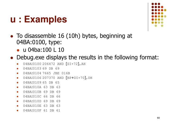 u : Examples