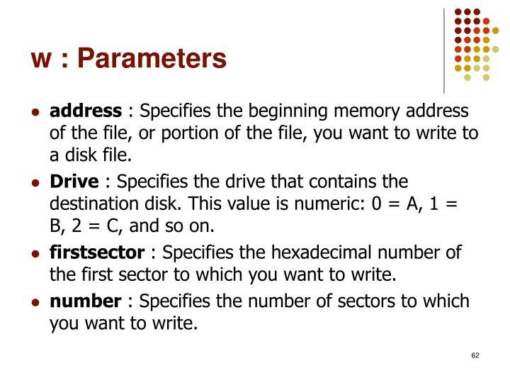 w : Parameters